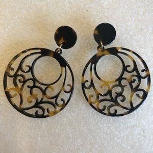Acrylic Tortoise Filigree Earrings